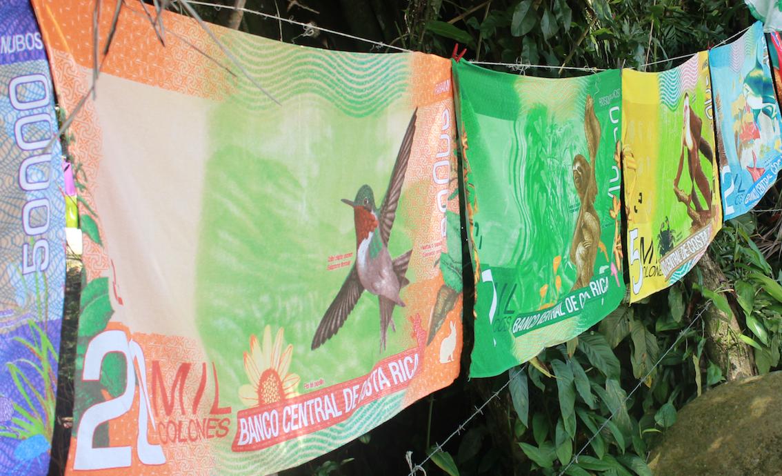 Colones Scheine als Handtuch in Costa Rica