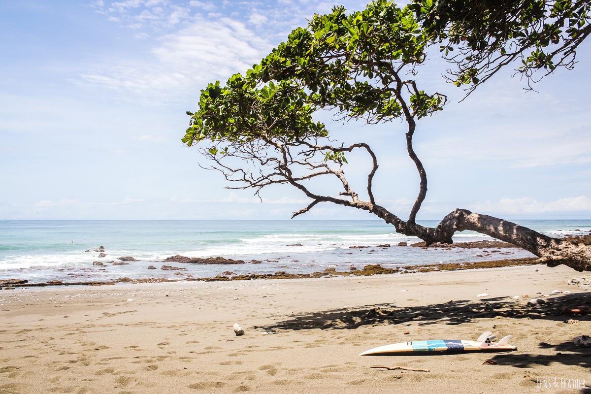 Surfbrett an der Playa Pan Dulce