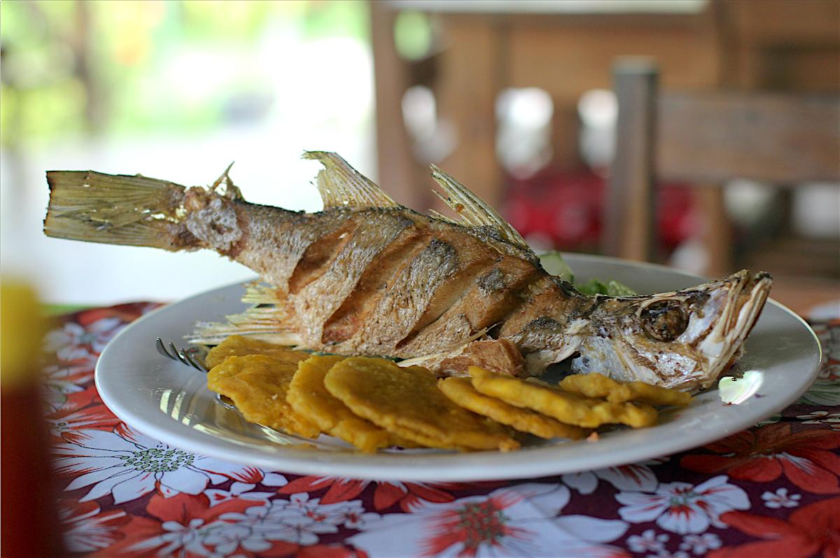 Frischer Fisch mit Patacones