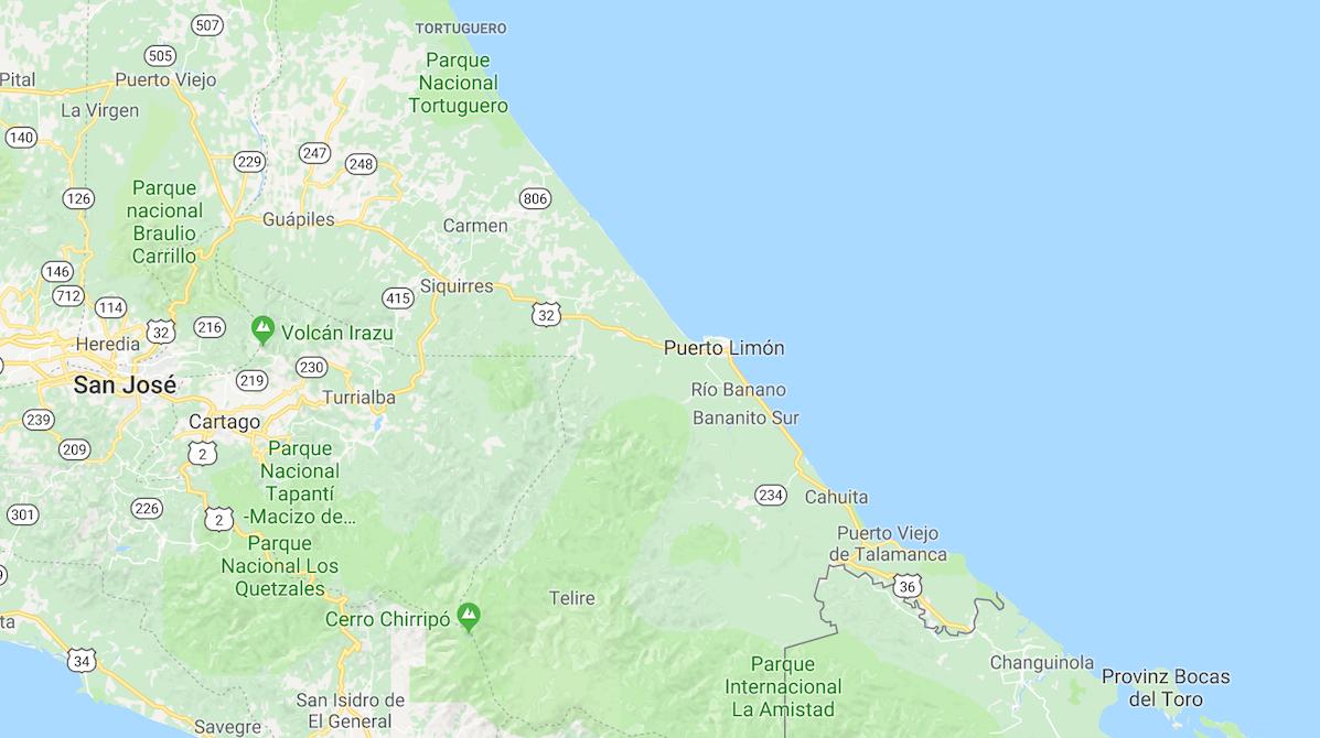 Karte von Costa Ricas Karibikküste | © Google Maps