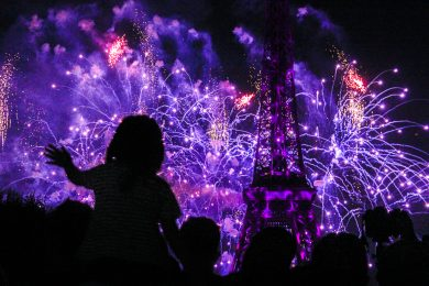 Feuerwerk vor dem Eiffelturm am 14. Juli